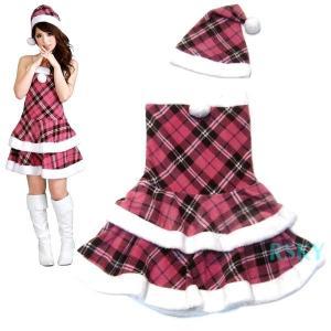 サンタ コスプレ コスチューム クリスマス 衣装 サンタクロース ティアード ベアトップ ミニワンピ 2点セット レディース サンタ 送料無料 xs000011 rsky