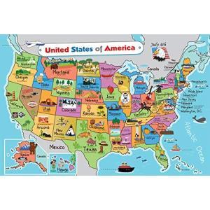 キッズ アメリカ合衆国地図 ウォールポスター (13 x 19) 米国地図 プレミアム紙 州スローガ...