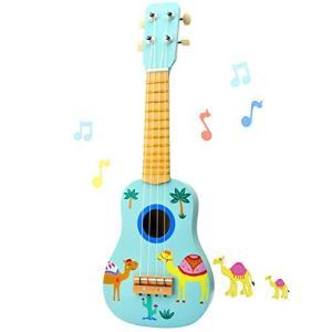 ギター 子供用 おもちゃ ウクレレ こども用 4弦 初心者 UKULELE 楽器玩具 知育玩具 木製...