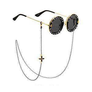 NGE メガネチェーン 眼鏡チェーン レディース おしゃれ 可愛い 花柄 人気 大人 金属製 5色 (黒) rtmy-rtmy-rtmy