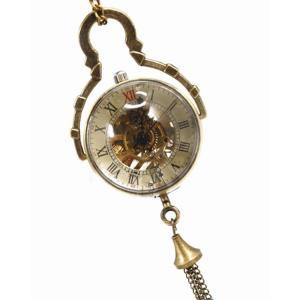 スケルトン 機械式 アンティーク 懐中時計 魚眼レンズ 真鍮