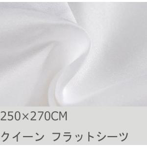 R.T. Home - 高級エジプト超長綿(エジプト綿)ホテル品質クイーン、ダブル兼用フラット ベッド シーツ 500スレッドカウント サテン織り ホワイト(白) 250*270の写真