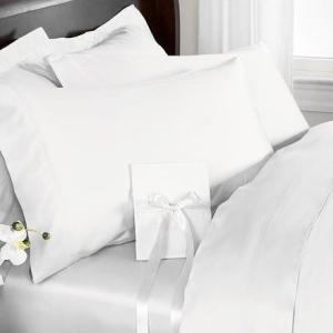 R.T. Home - 高級エジプト超長綿(エジプト綿)ホテル品質クイーン、ダブル兼用フラット ベッド シーツ 500スレッドカウント サテン織り ホワイト(白) 250*270 rtstudio 03