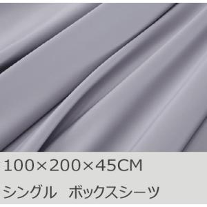 R.T. Home - 高級エジプト超長綿(エジプト綿)ホテル品質ボックスシーツ シングル (マチ40CM以上)500スレッドカウント サテン織り シルバー グレー(100*200*45CM)|rtstudio
