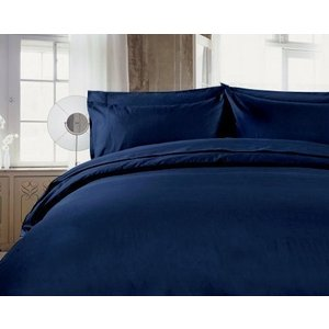 R.T. Home - 高級エジプト超長綿(エジプト綿)ホテル品質 枕カバー 50×80 封筒式500スレッドカウント サテン織り ミッドナイト ネイビー rtstudio 02