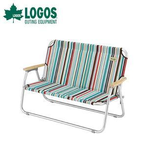 ロゴス チェアforツー (ストライプ) ベンチ 2人掛け rubbermark