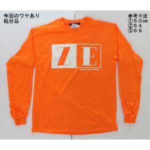 【処分品】 ロングTシャツ オレンジ ZE ロゴ L(日本サイズ:2L〜3L相当) 大きいサイズ ゼロエンジニアリング rubbermark