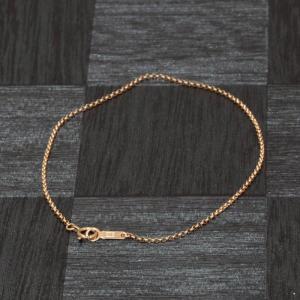 【18金ピンクゴールド】ロールチェーン・ブレスレット(1.2mm/15cm)「鎖タイプ/K18PG/18k・貴金属ジュエリー」