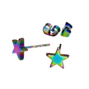 【バラ売り/1個】 ピアス サージカルステンレス 星モチーフのピアス 高さ6.8mm 虹色 レインボ...
