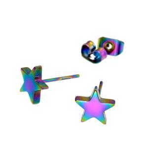 【バラ売り/1個】 ピアス サージカルステンレス 星モチーフのピアス 高さ7.5mm 虹色 レインボ...