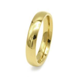 幅4mmのシンプル甲丸ステンレスリング(ゴールド)「指輪」