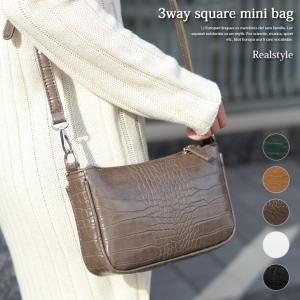 クロコダイル型押し3wayスクエアミニバッグ レディース 鞄 かばん カバン 小さい ハンドバッグ|ruckruck