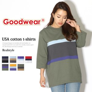 グッドウェア Goodwear Tシャツ カットソー レディース トップス 7分袖 切替 USAコットン クルーネック 丸首 7分袖 バイカラー ブランド|ruckruck