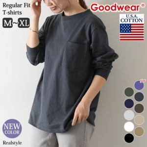Tシャツ グッドウェア レディース メンズ 長袖 トップス Goodwear ロンT 無地 カットソー|ruckruck