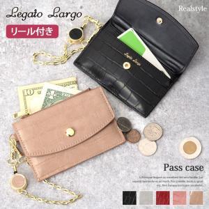 Legato Largo レガートラルゴ クロコ型押し リール付き パスケース カードケース カード入れ|ruckruck