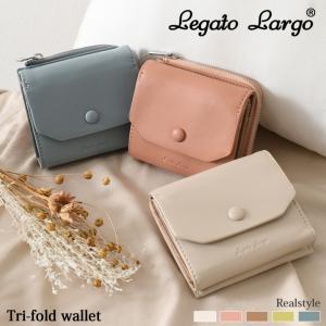三つ折り財布 Legato Largo レガートラルゴ ラム革風 フェイクレザー レディース サイフ コンパクト|ruckruck