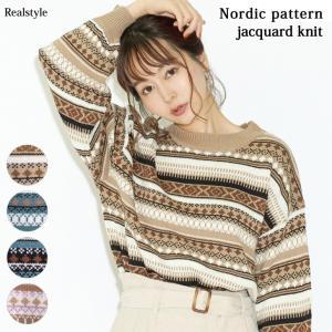 プチハイネックジャガード編みノルディック柄ニット レディース トップス セーター 長袖 ゆったり 1912ss ruckruck