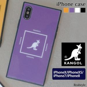 カンゴール KANGOL SQUARE ロゴ iPhoneケース iPhoneX iPhoneXS iPhone7 iPhone8 ブランド アイフォン 背面 ガラスケース スマホカバー|ruckruck