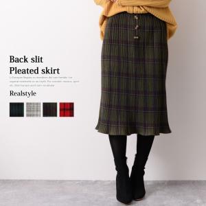 バックスリット裾フレアチェック柄プリーツスカート レディース ボトムス ロング ミモレ|ruckruck
