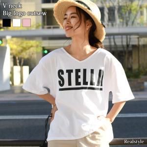 Tシャツ レディース 半袖 韓国 ロゴ カットソー ゆったり Vネック トップス ティーシャツ 大きめ 大きいサイズ 英字 ビッグ|ruckruck