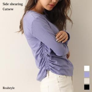カットソー レディース シャーリング コットン Tシャツ 長袖 春夏 伸縮性 綿100% 無地 カジュアル 可愛い ドレープ|ruckruck