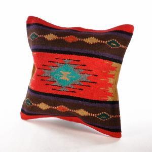 エルパソサドルブランケット (El Paso SADDLEBLANKET) Azteca/ラグ素材クッションカバー[約46×46cm]09.RED rugforest