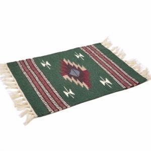 エルパソサドルブランケット (El Paso SADDLEBLANKET) Wool Chimayo Style/ウールラグ素材プレースマット[約51×38cm]GREEN【得トクセール】|rugforest