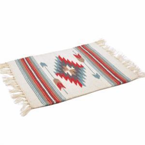 エルパソサドルブランケット (El Paso SADDLEBLANKET) Wool Chimayo Style/ウールラグ素材プレースマット[約51×38cm]NATURAL/BLUE【得トクセール】|rugforest
