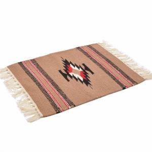 エルパソサドルブランケット (El Paso SADDLEBLANKET) Wool Chimayo Style/ウールラグ素材プレースマット[約51×38cm]TAUPE【得トクセール】|rugforest