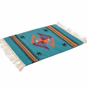 エルパソサドルブランケット (El Paso SADDLEBLANKET) Wool Chimayo Style/ウールラグ素材プレースマット[約51×38cm]TURQUOISE/ORANGE【得トクセール】|rugforest