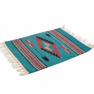 エルパソサドルブランケット (El Paso SADDLEBLANKET) Wool Chimayo Style/ウールラグ素材プレースマット[約51×38cm]TURQUOISE【得トクセール】|rugforest