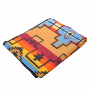 エルパソサドルブランケット (El Paso SADDLEBLANKET) Fleece Lodge Blanket フリースロッジブランケット[約203×152cm]01A.TAN/BLUE|rugforest