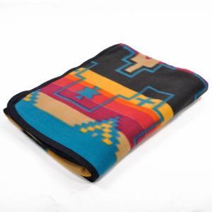 エルパソサドルブランケット (El Paso SADDLEBLANKET) Fleece Lodge Blanket フリースロッジブランケット[約203×152cm]03.BLK/BEIGE|rugforest