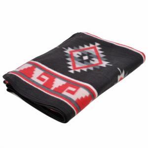 エルパソサドルブランケット (El Paso SADDLEBLANKET) Fleece Lodge Blanket フリースロッジブランケット[約203×152cm]14.BLK/RED|rugforest