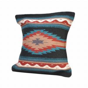 エルパソサドルブランケット (El Paso SADDLEBLANKET) Wool Maya Modern/ウールラグ素材クッションカバー[約46×46cm]26.BLK rugforest