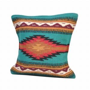 エルパソサドルブランケット (El Paso SADDLEBLANKET) Wool Maya Modern/ウールラグ素材クッションカバー[約46×46cm]27.TEAL rugforest