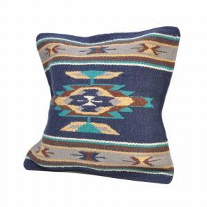 エルパソサドルブランケット (El Paso SADDLEBLANKET) Wool Maya Modern/ウールラグ素材クッションカバー[約46×46cm]30.NAVY rugforest
