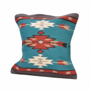 エルパソサドルブランケット (El Paso SADDLEBLANKET) Wool Maya Modern/ウールラグ素材クッションカバー[約46×46cm]32.TURQUOISE rugforest
