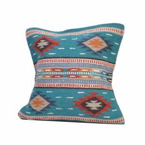 エルパソサドルブランケット (El Paso SADDLEBLANKET) Wool Maya Modern/ウールラグ素材クッションカバー[約46×46cm]37.DK.TURQUOISE rugforest