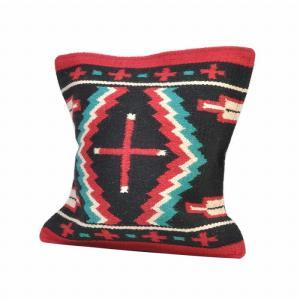 エルパソサドルブランケット (El Paso SADDLEBLANKET) Wool Maya Modern/ウールラグ素材クッションカバー[約46×46cm]39.BLK/RED rugforest