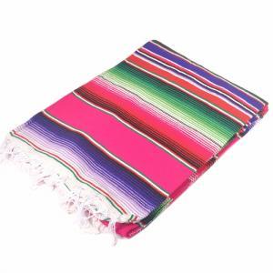 エルパソサドルブランケット (El Paso SADDLEBLANKET) Authentic Mexican Serapes/メキシカンサラペブランケット[約213×152cm]PINK/BAMBOO rugforest