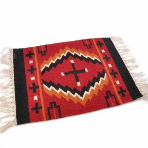 エルパソサドルブランケット (El Paso SADDLEBLANKET) Wool Maya Modern/ウールラグ素材プレースマット[約51×38cm]07.RED/BLK【得トクセール】|rugforest