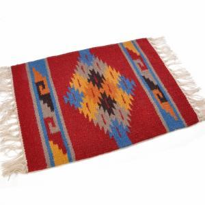 エルパソサドルブランケット (El Paso SADDLEBLANKET) Wool Maya Modern/ウールラグ素材プレースマット[約51×38cm]09.BURGUNDY/BLUE【得トクセール】|rugforest