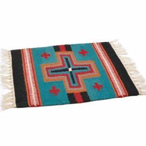 エルパソサドルブランケット (El Paso SADDLEBLANKET) Wool Maya Modern/ウールラグ素材プレースマット[約51×38cm]13.TURQUOISE/BLK【得トクセール】|rugforest
