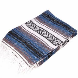 モリーナインディアンブランケット (Molina Indian Blanket) Economy Mexican Blanket/エコノミーメキシカンブランケット[約185×122cm]STEEL.BLUE|rugforest