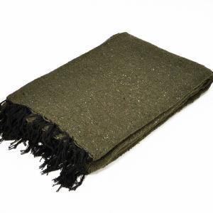モリーナインディアンブランケット (Molina Indian Blanket) Solid Blanket/無地メキシカンブランケット[198×124cm]OLIVE|rugforest