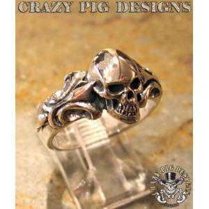 クレイジーピッグ リング 指輪 CRAZYPIG ワン スカル チューダー リング CRAZY PIG メンズ リング レディース リング|rugged-market