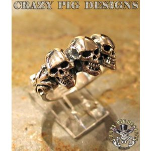 クレイジーピッグ リング 指輪 CRAZYPIG スリー スカル チューダー リング CRAZY PIG メンズ リング レディース リング|rugged-market
