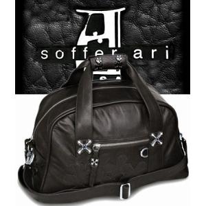 ソファアリ SofferAri ミディアム デュッフェル w フレファーブル S.A. シルバー バッグ - ブラック ボストンバッグ 革鞄 レザーバッグ