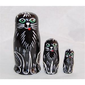 動物マトリョーシカ  黒ネコ 3個組6.5cm ruinok-2